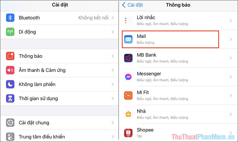 Bạn kéo xuống cuối để tìm danh sách ứng dụng và chọn ứng dụng cần tắt số lượng thông báo