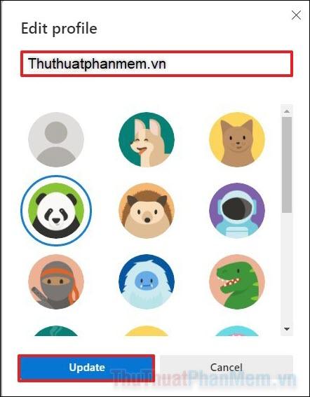 Một thiết lập nhỏ hiện lên cho phép bạn đổi tên và hình đại diện của profile mới