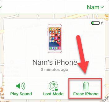 Nhấn vào Erase iPhone