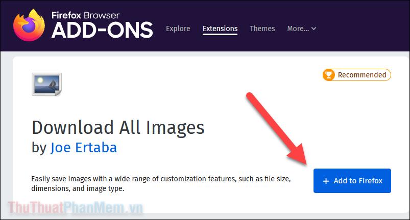 Truy cập trang cài đặt Download All Images và nhấn Add to Firefox