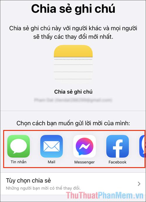 Chọn một trong những nền tảng nhắn tin để gửi liên kết chia sẻ cho họ