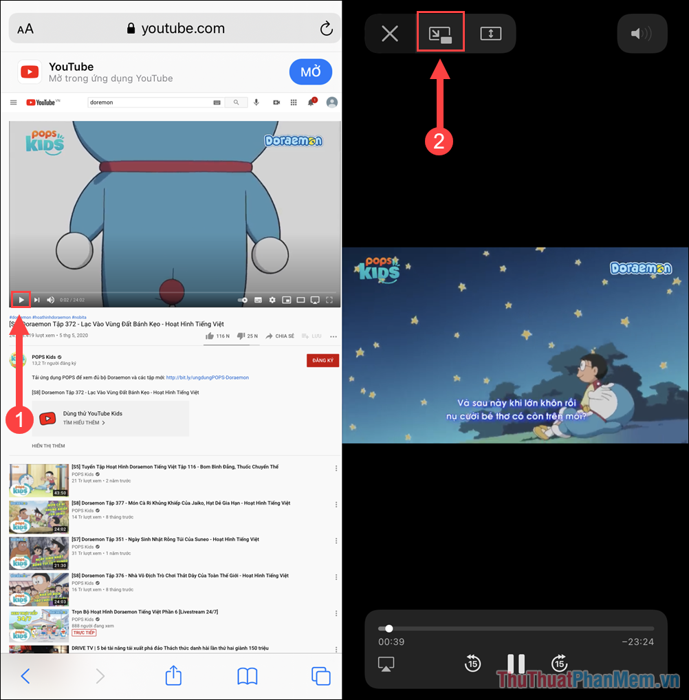 Chọn Picture in Picture trong chế độ xem Video