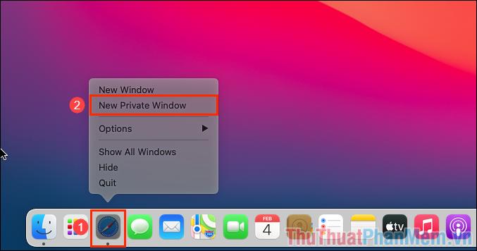Click chuột phải vào biểu tượng Safari trên thanh Dock và chọn New Private Windows