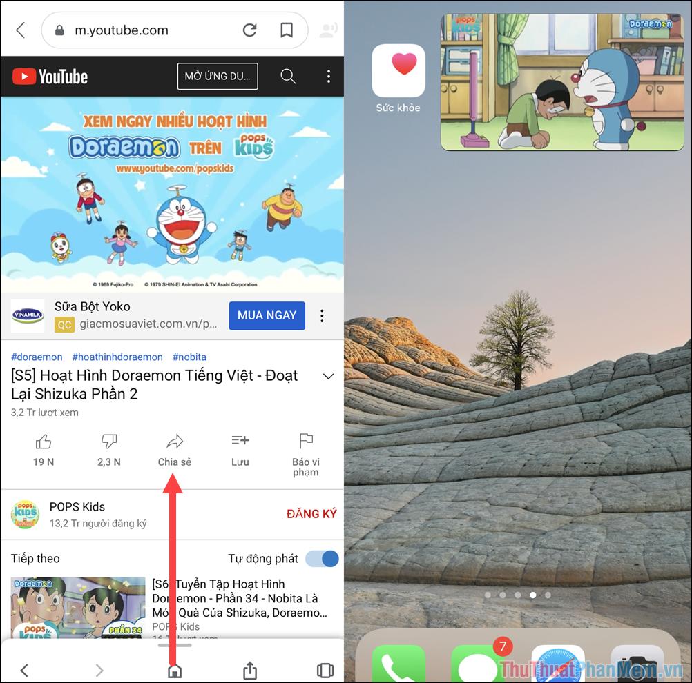 Truy cập Youtube và mở Video cần xem nội dung trong màn hình
