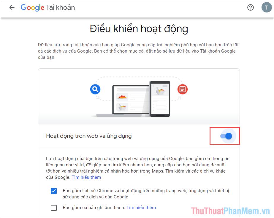 Chọn công tắc Off trên mục Hoạt động trên Web và ứng dụng