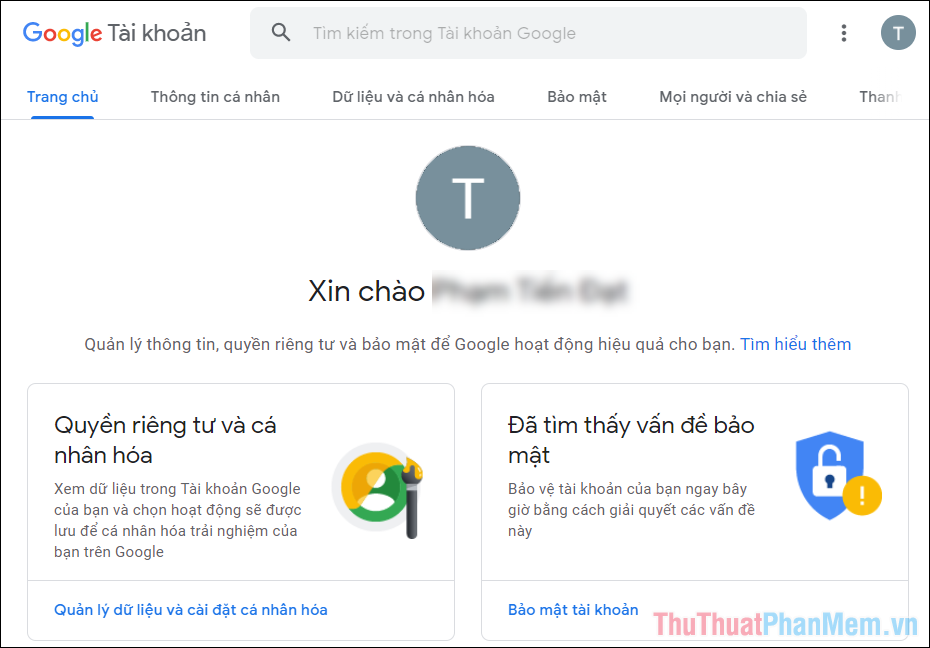 Truy cập trang chủ quản lý tài khoản Google và tiến hành đăng nhập