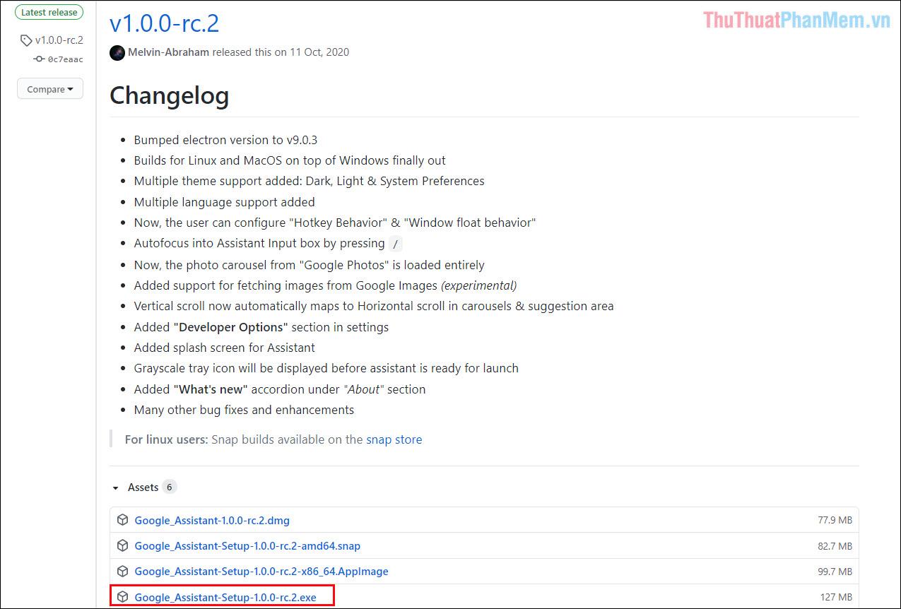 """Cài cho máy tính MacOS thì chọn đuôi """".dmg"""" và chọn """".snap"""" nếu cài trên hệ điều hành Linux"""