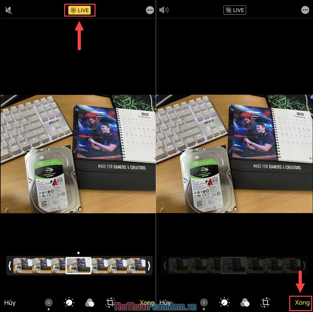 Nhấn vào biểu tượng Live trên màn hình để tắt tính năng ảnh động và nhấn Xong để hoàn tất