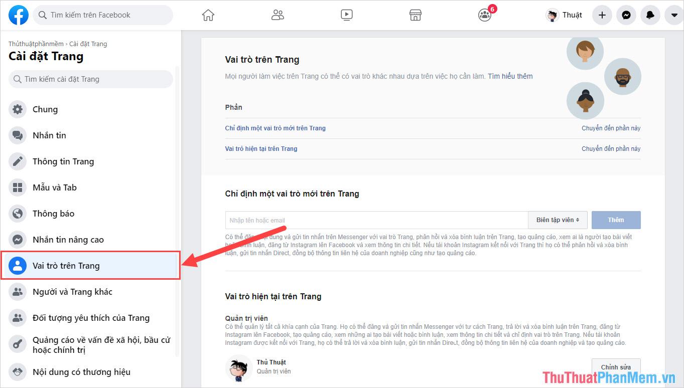 Chọn mục Vai trò trên Trang để kiểm soát chức năng của các thành viên