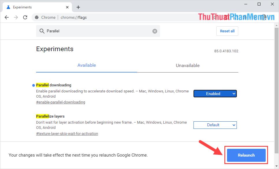 Để khởi động lại Chrome, các bạn chọn Relaunch