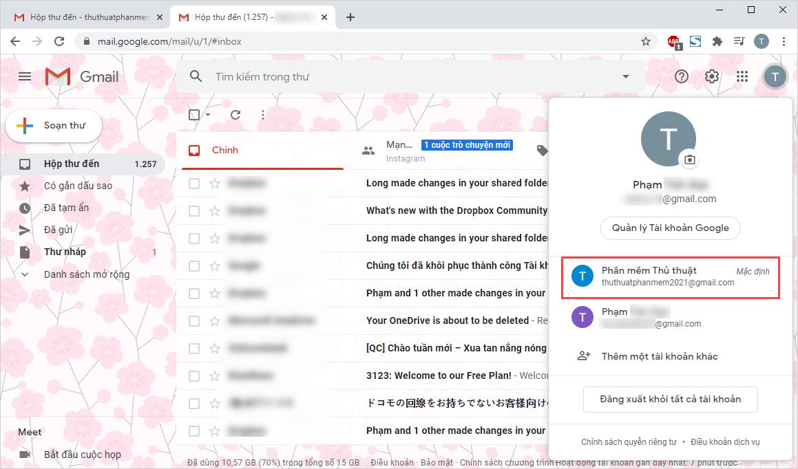 """Bạn sẽ thấy rằng """"tài khoản đăng nhập đầu tiên vào Gmail"""" là tài khoản Mặc định"""