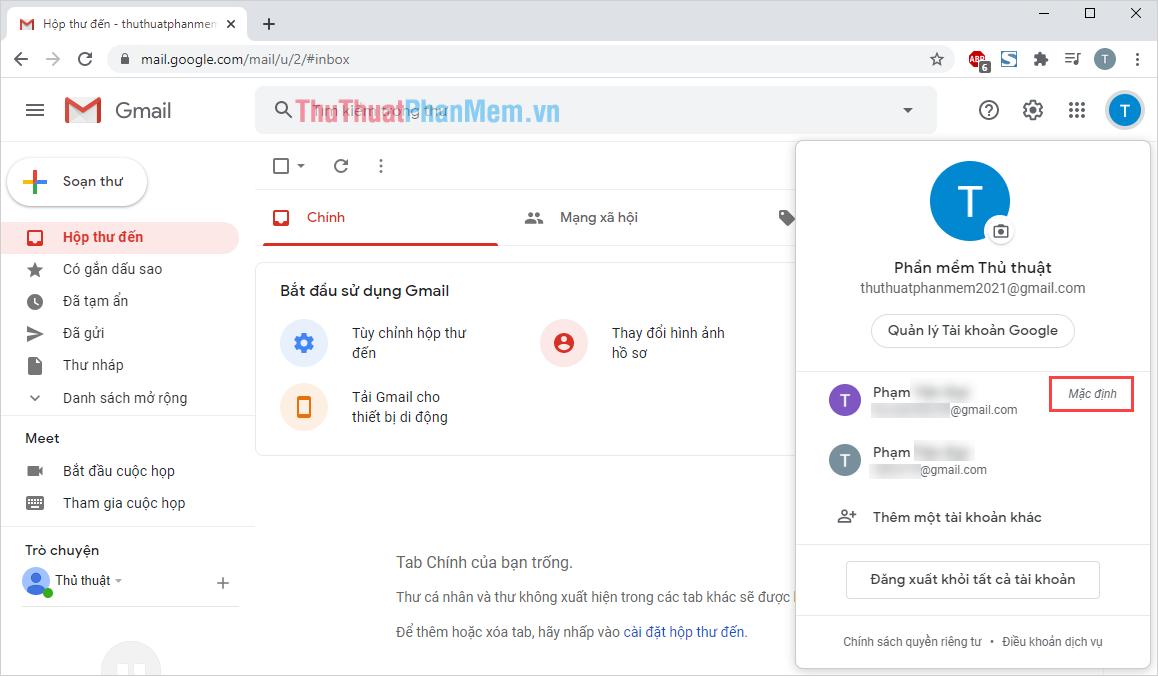 Cách nhận tài khoản Gmail mặc định trên Google