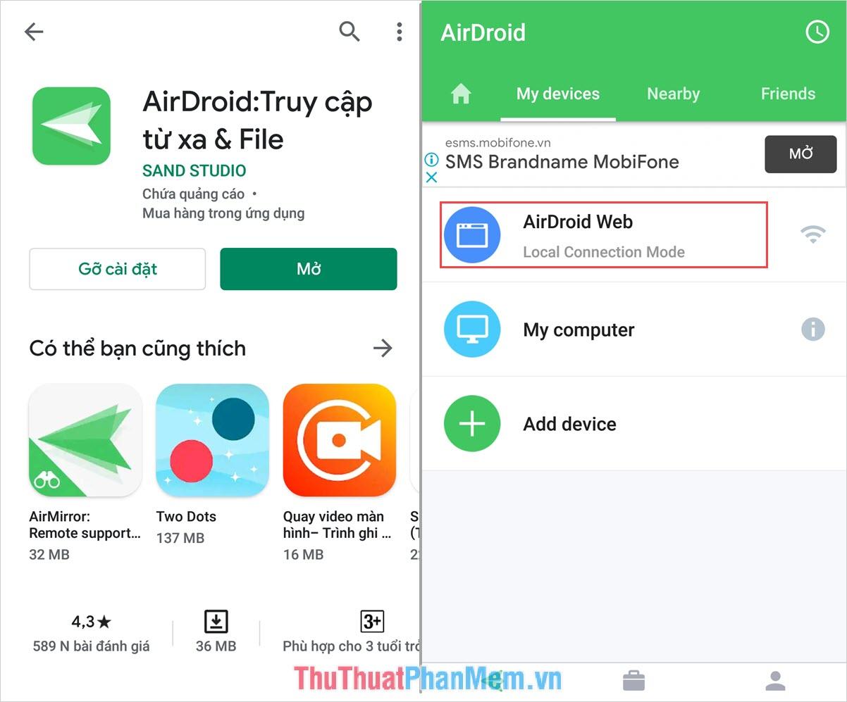 Chọn mục AirDroid Web để đăng nhập