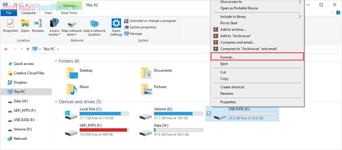 Click chuột phải vào USB để chọn Format
