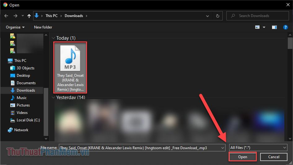 Chọn 1 hoặc nhiều file .mp3 rồi nhấn Open để tải lên