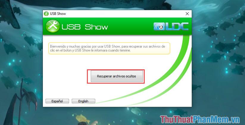 Khởi động phần mềm và chọn Recuperar archivos ocultos