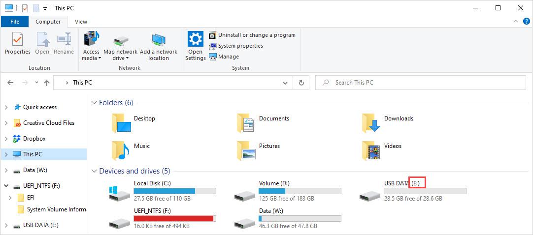 Mở This PC để xem tên thiết bị USB
