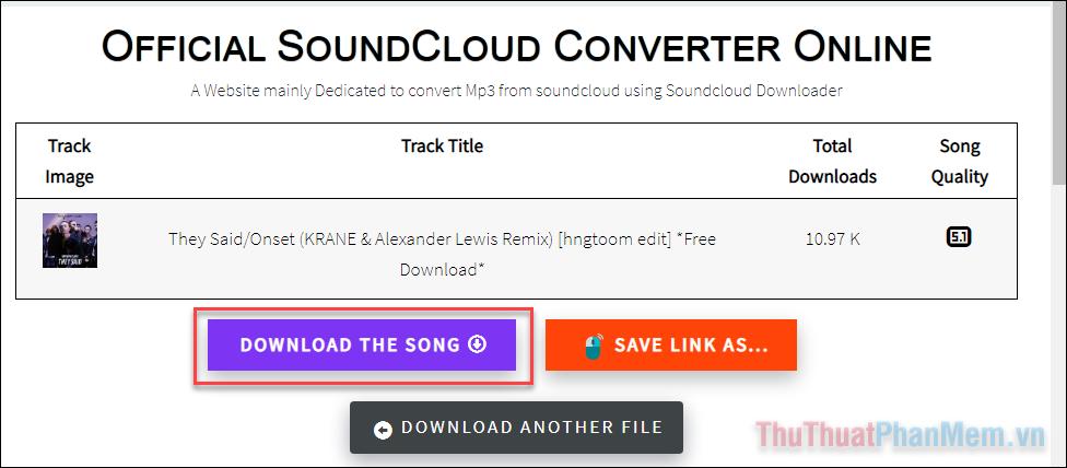 Nhấn Download the song để tải về