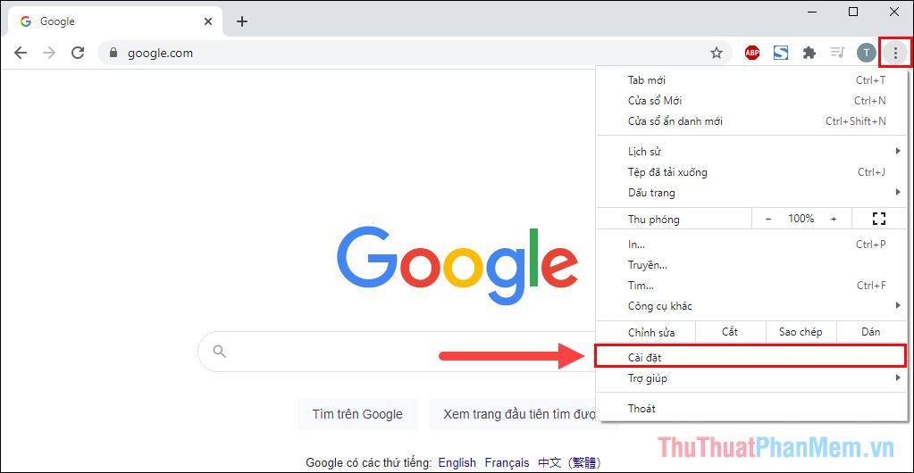 Chọn Tùy chọn và mở Cài đặt để kiểm tra phiên bản của Chrome