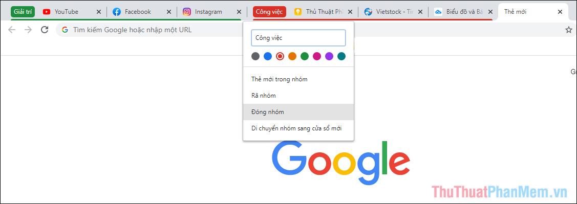 Click chuột phải vào Tab nhóm bạn sẽ có một số sự lựa chọn khác