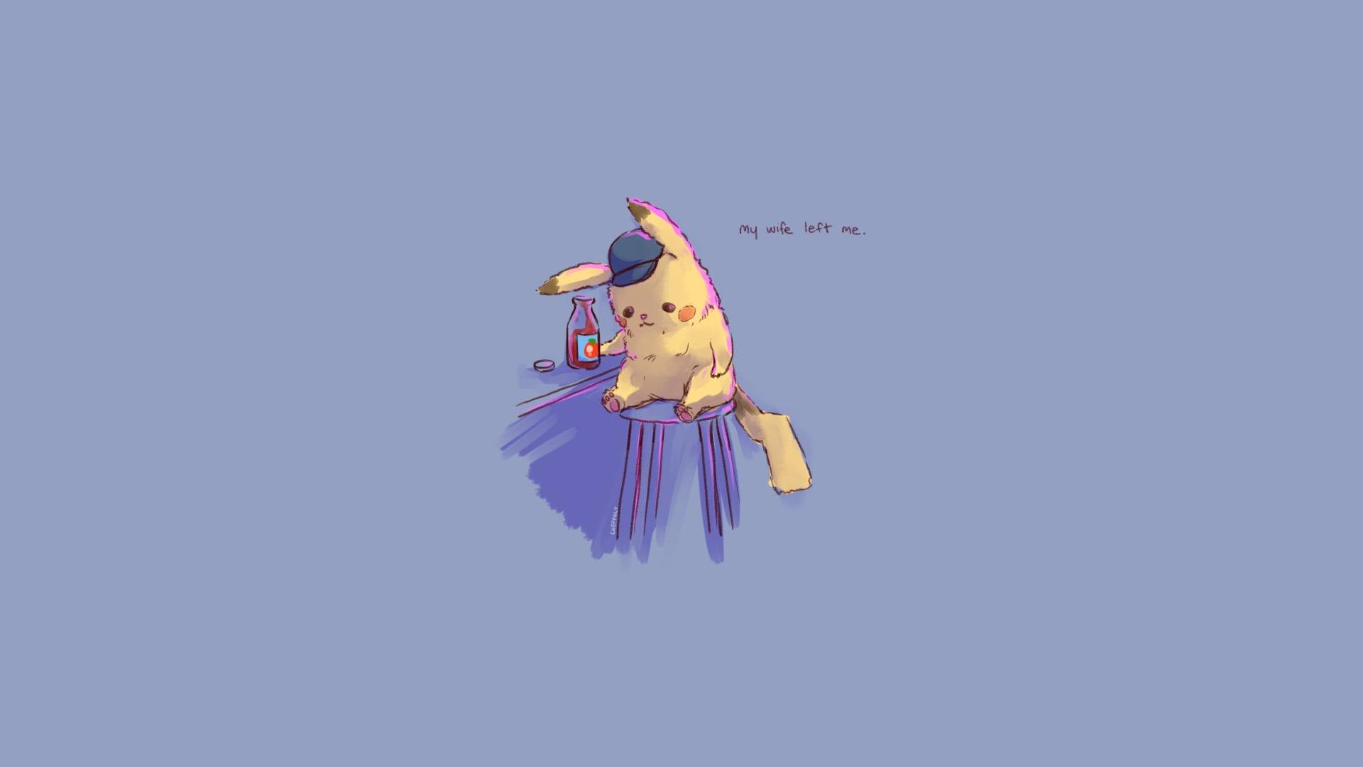 Hình nền pikachu chibi đẹp, buồn