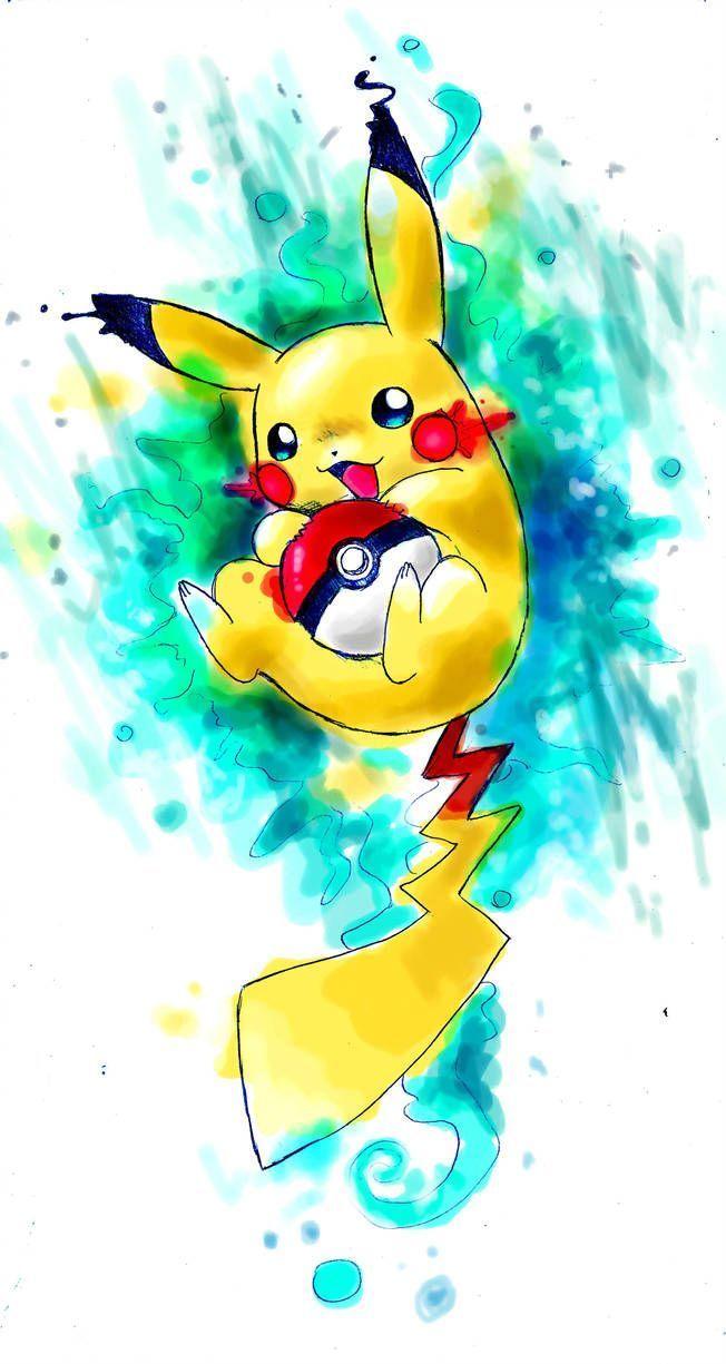 Hình nền Pikachu vẽ bằng màu nước cho điện thoại